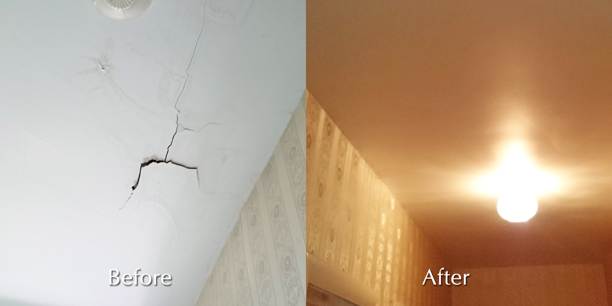 repair handyman ceiling of rock plaster in personal white crack