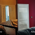 Before and After of an accent wall with windows restored by Moncast