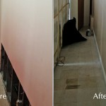 Before and After pictures of a hallway that needed wall repair