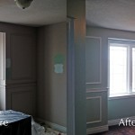 Trim and walls of a house landing painted by Moncast - Before & After